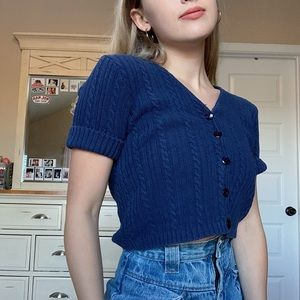 Vintage Cable Knit Cropped Sweater Shirt
